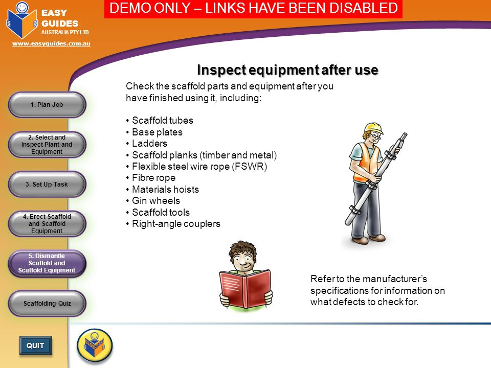 Inspect equipment after use