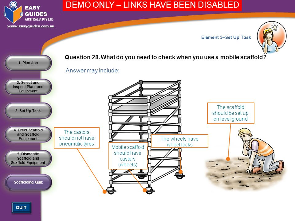 Question 28. What do you need to check when you use a mobile scaffold