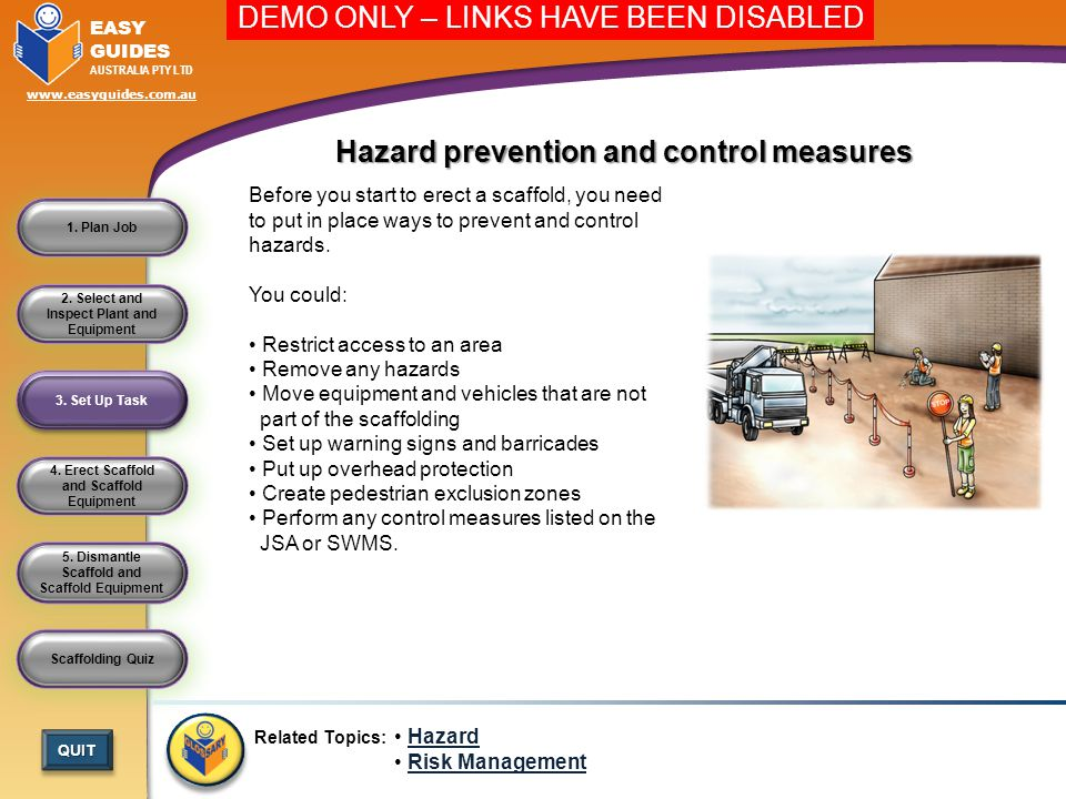 Hazard prevention and control measures
