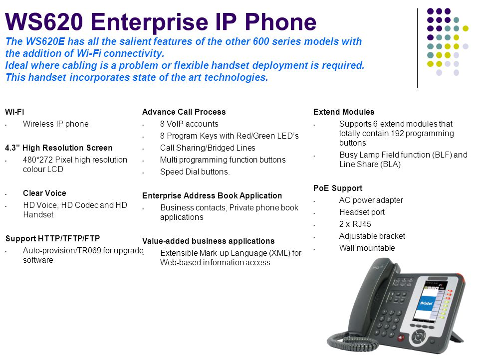 WS620 Enterprise IP Phone The WS620E has all the salient features of the other 600 series models with the addition of Wi-Fi connectivity. Ideal where cabling is a problem or flexible handset deployment is required. This handset incorporates state of the art technologies.