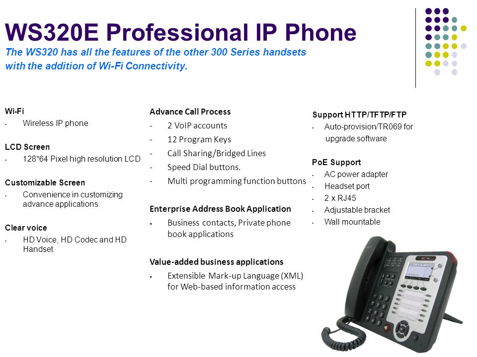 WS320E Professional IP Phone The WS320 has all the features of the other 300 Series handsets with the addition of Wi-Fi Connectivity.