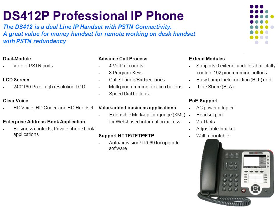 DS412P Professional IP Phone The DS412 is a dual Line IP Handset with PSTN Connectivity. A great value for money handset for remote working on desk handset with PSTN redundancy