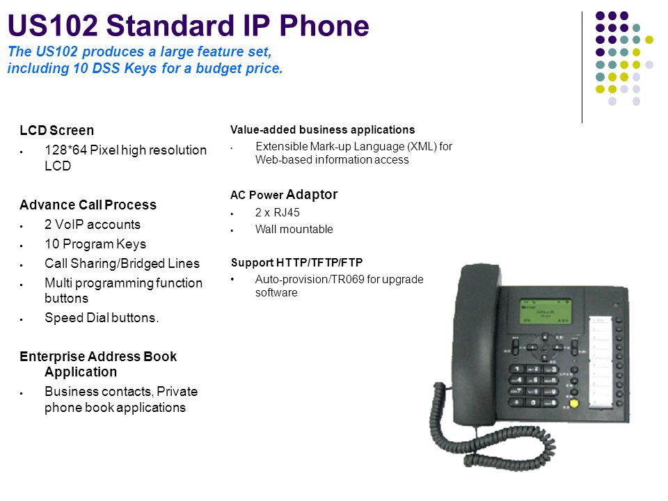 US102 Standard IP Phone The US102 produces a large feature set, including 10 DSS Keys for a budget price.