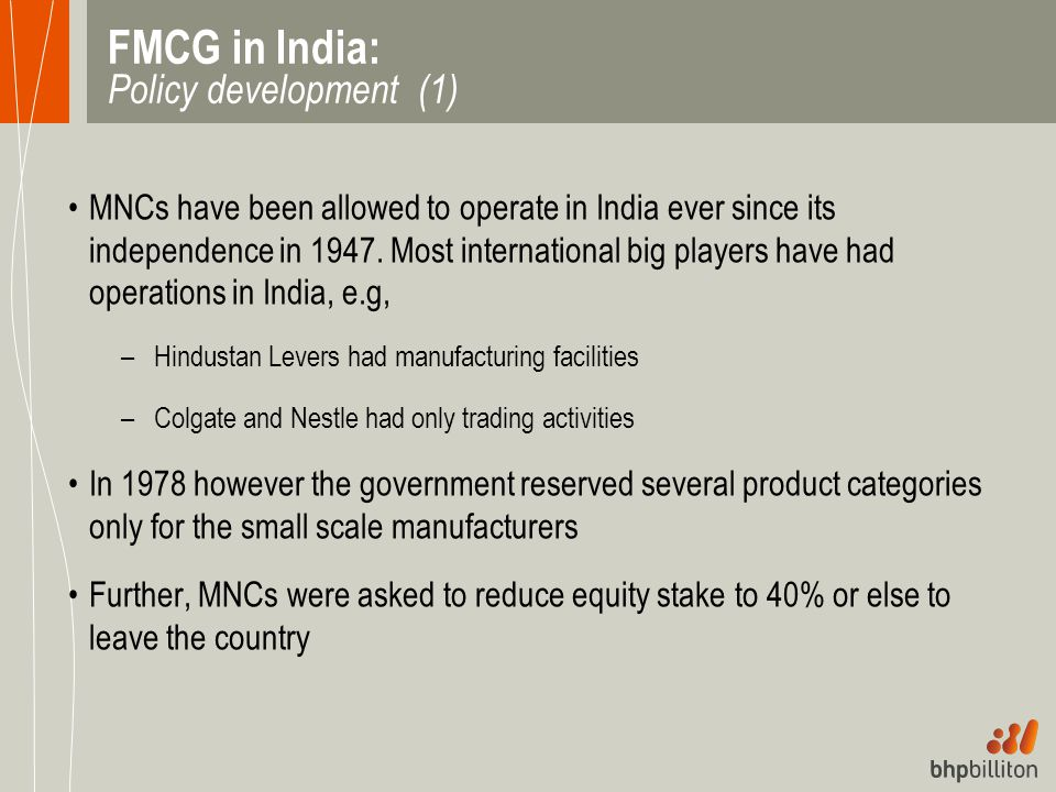 FMCG in India: Policy development (1)