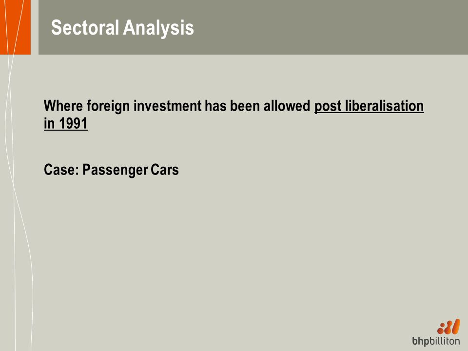 Sectoral Analysis Where foreign investment has been allowed post liberalisation in 1991.