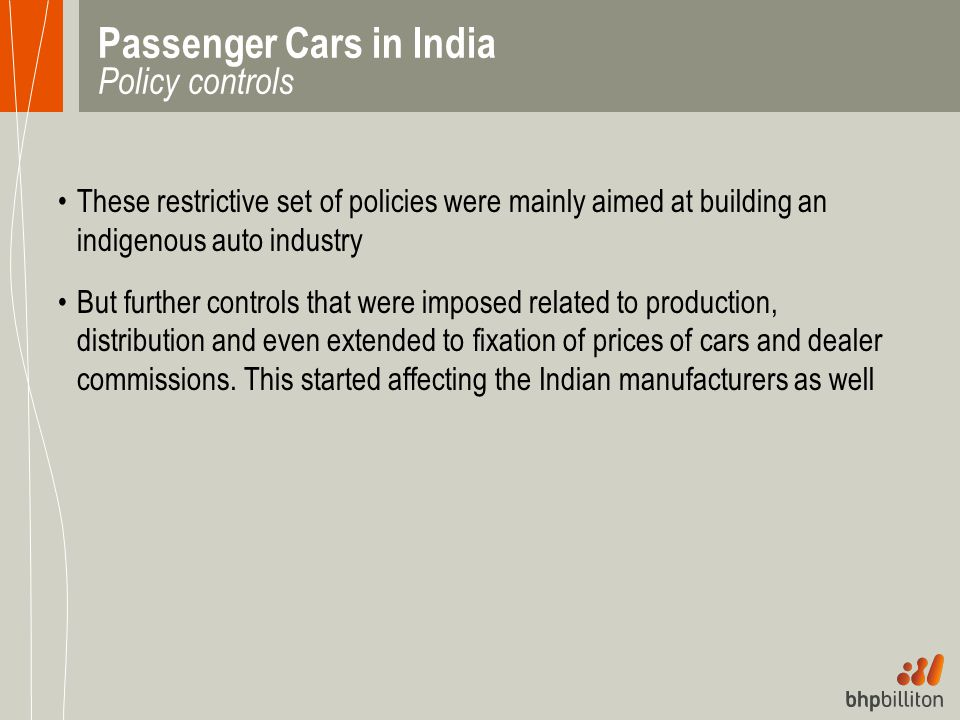 Passenger Cars in India Policy controls