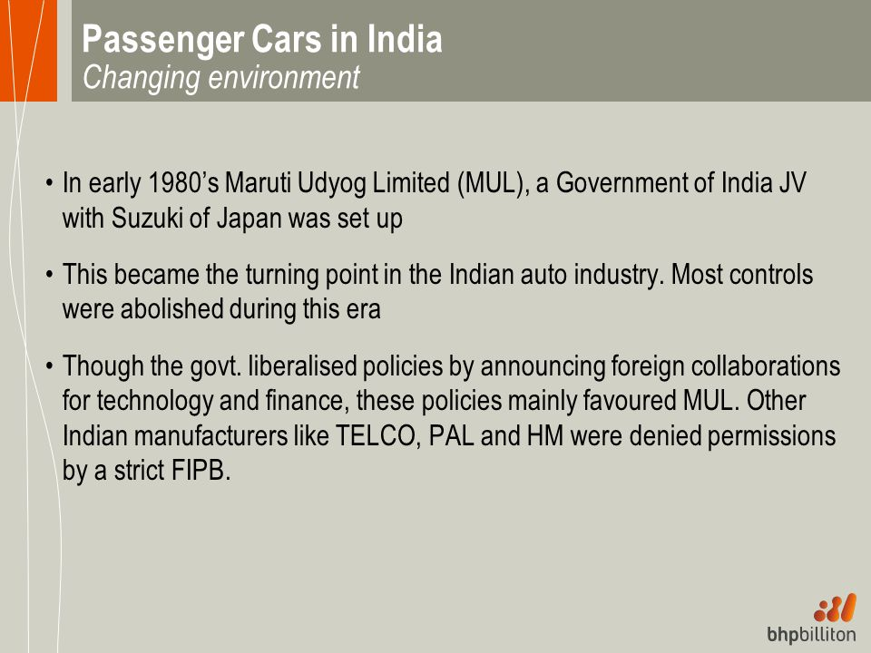 Passenger Cars in India Changing environment