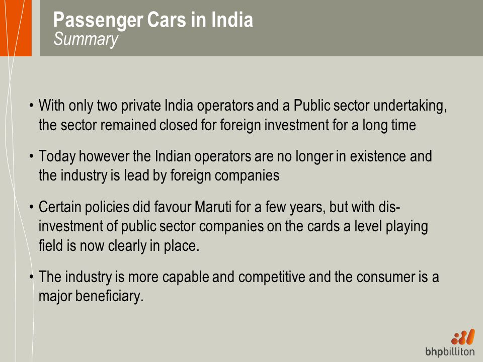 Passenger Cars in India Summary