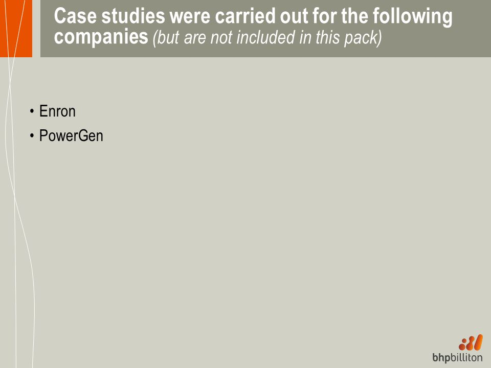 Case studies were carried out for the following companies (but are not included in this pack)