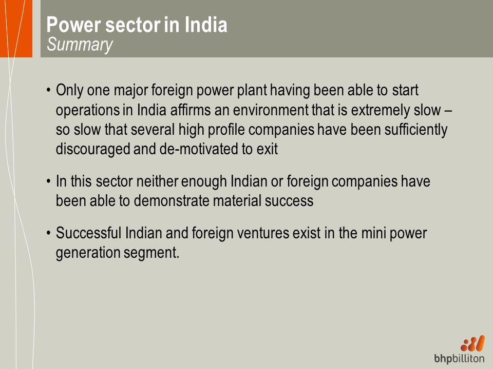 Power sector in India Summary