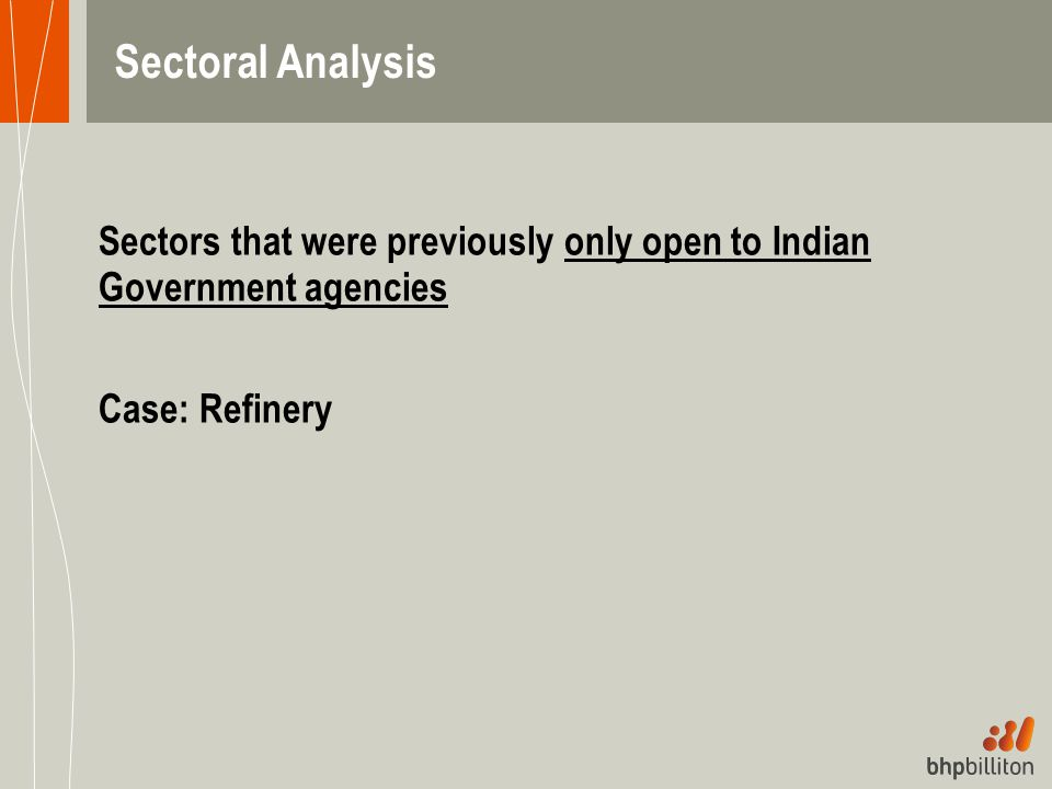 Sectoral Analysis Sectors that were previously only open to Indian Government agencies.