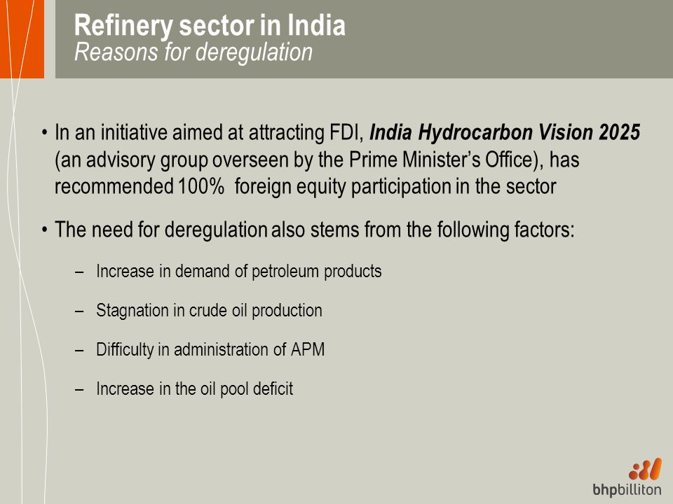 Refinery sector in India Reasons for deregulation