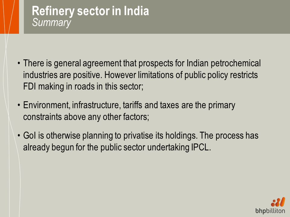 Refinery sector in India Summary