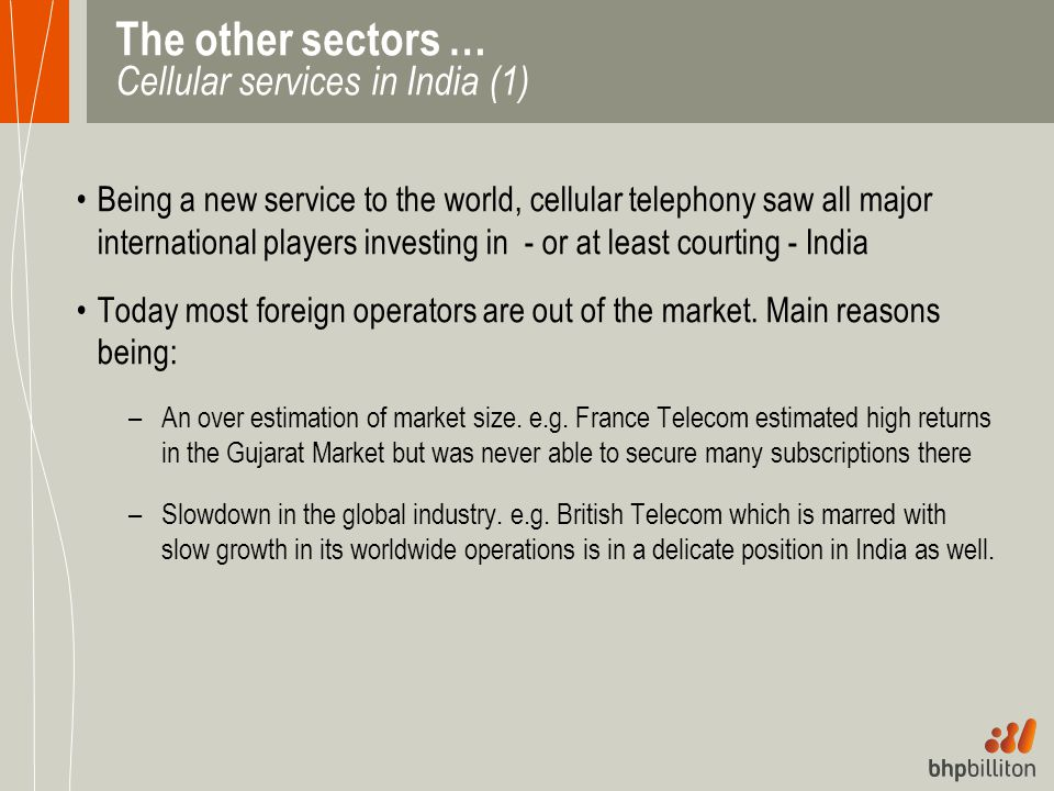 The other sectors … Cellular services in India (1)