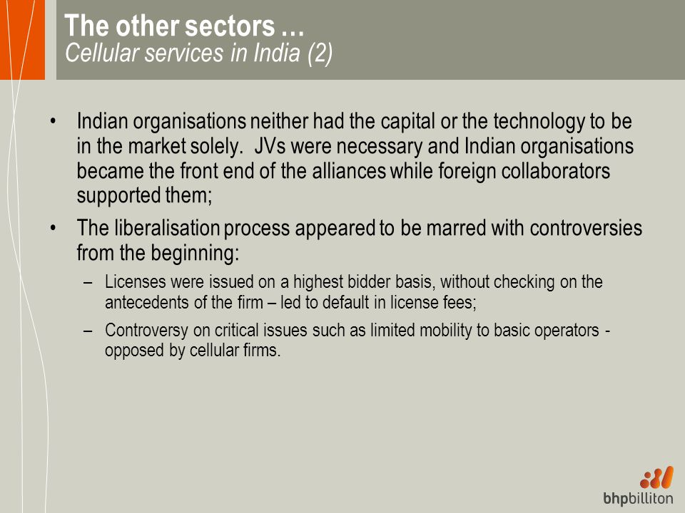 The other sectors … Cellular services in India (2)