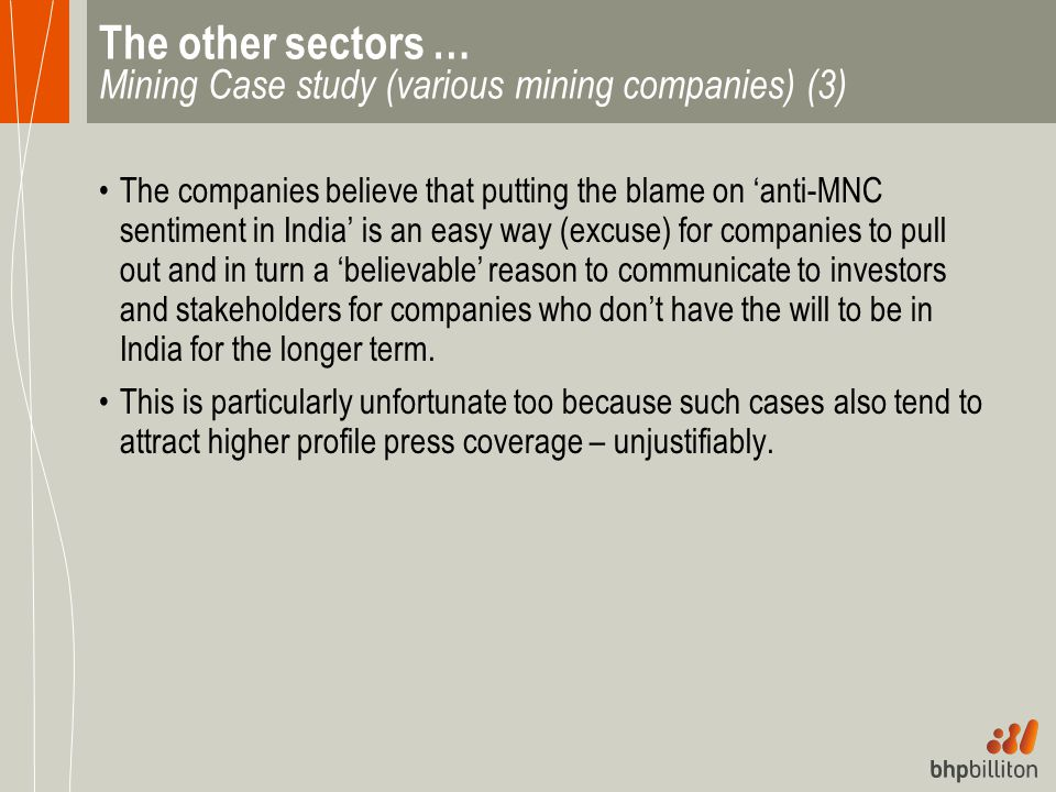 The other sectors … Mining Case study (various mining companies) (3)