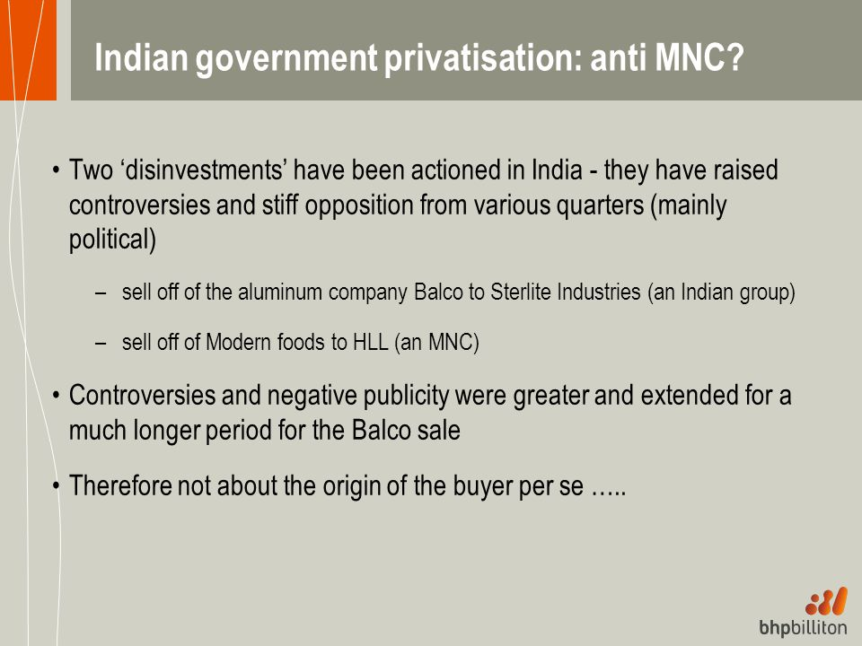 Indian government privatisation: anti MNC