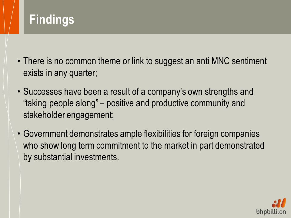 Findings There is no common theme or link to suggest an anti MNC sentiment exists in any quarter;