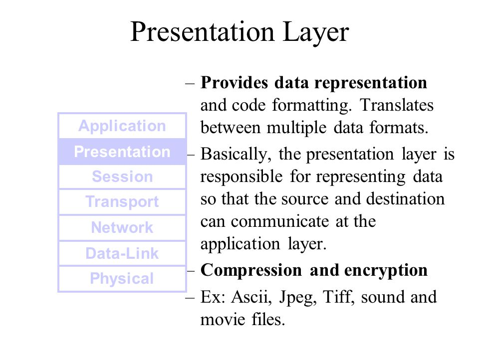 Presentation Layer Provides data representation and code formatting. Translates between multiple data formats.