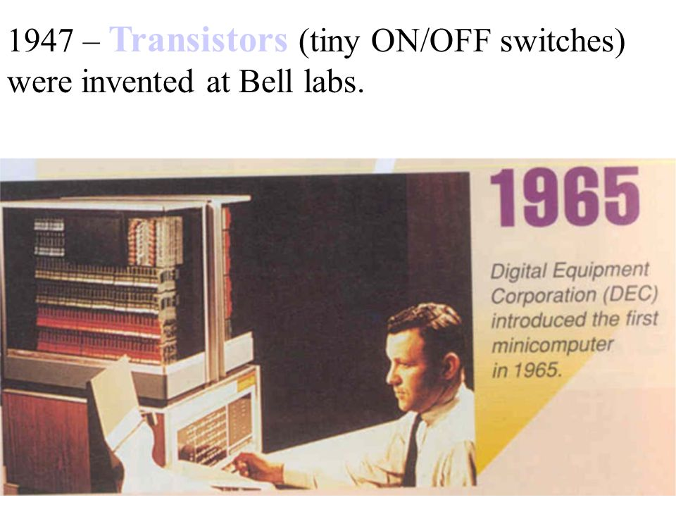1947 – Transistors (tiny ON/OFF switches) were invented at Bell labs.
