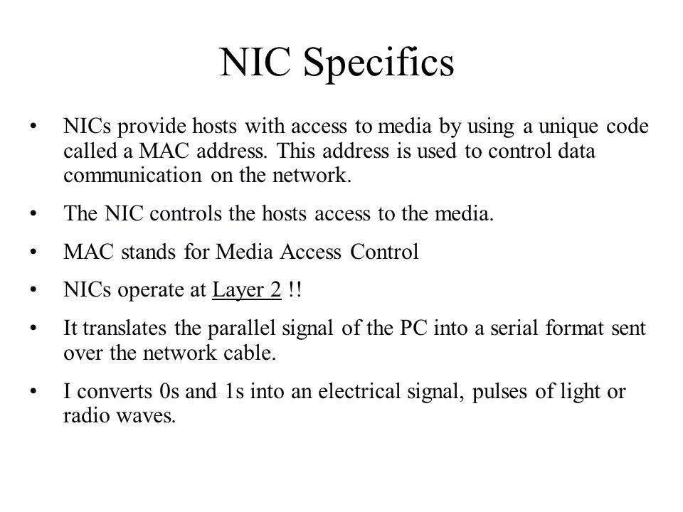 NIC Specifics
