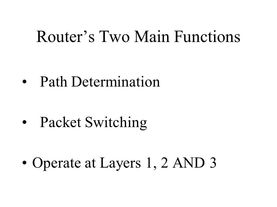 Router's Two Main Functions