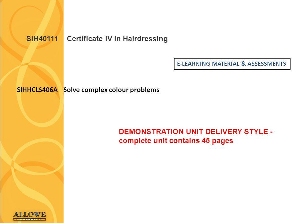 SIH40111 Certificate IV in Hairdressing