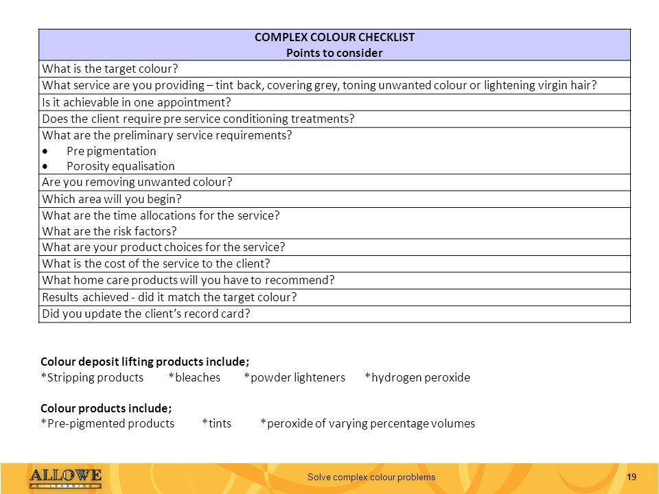 COMPLEX COLOUR CHECKLIST
