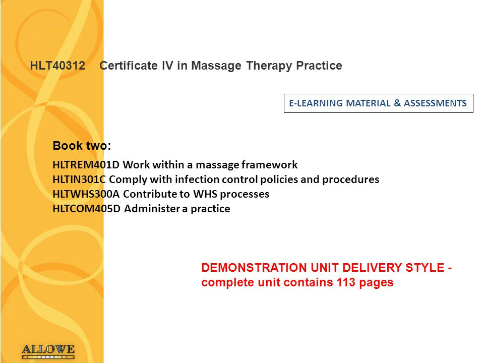 HLT40312 Certificate IV in Massage Therapy Practice