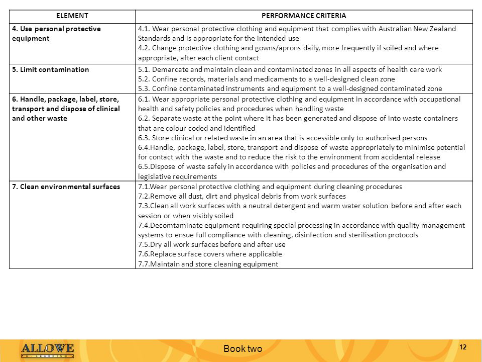 Book two ELEMENT PERFORMANCE CRITERIA