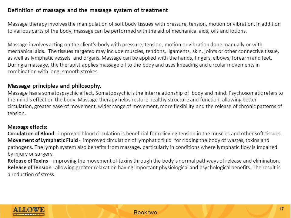 Definition of massage and the massage system of treatment