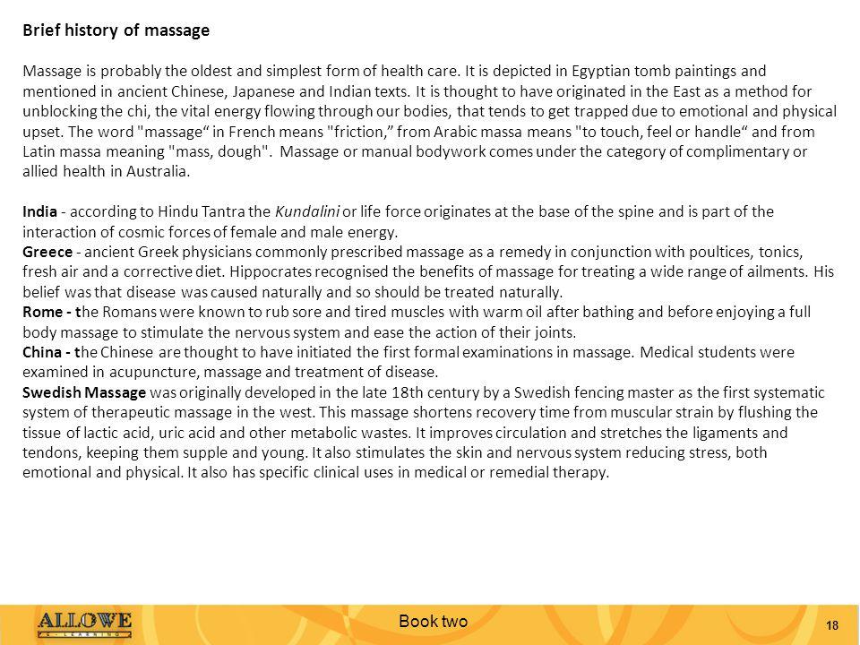 Brief history of massage