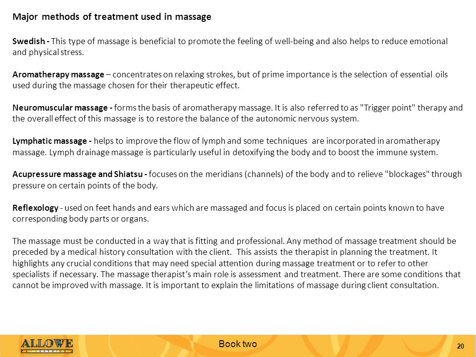 Major methods of treatment used in massage