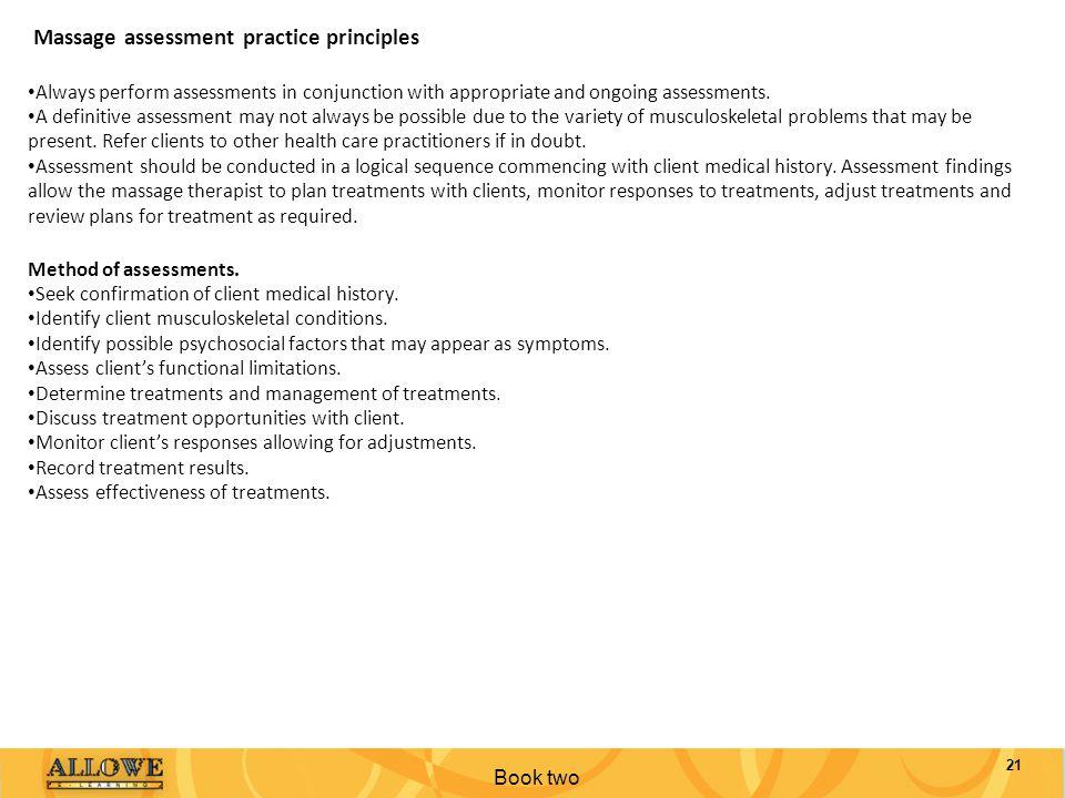 Massage assessment practice principles