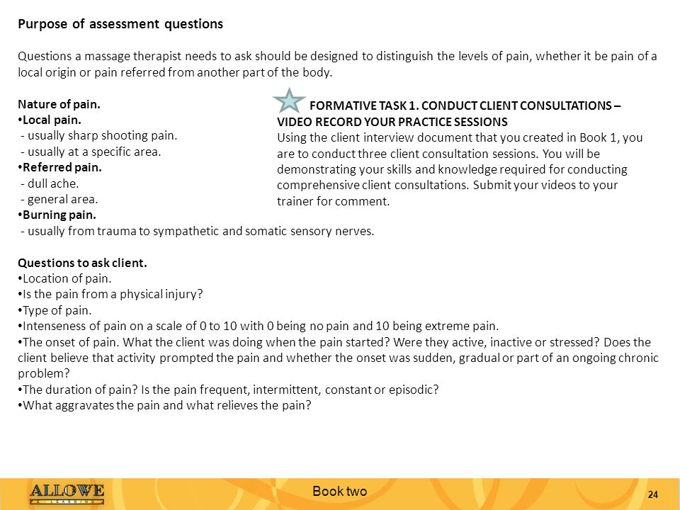 Purpose of assessment questions
