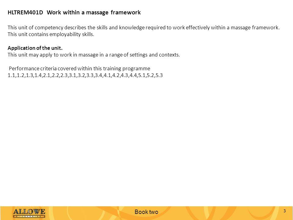 HLTREM401D Work within a massage framework