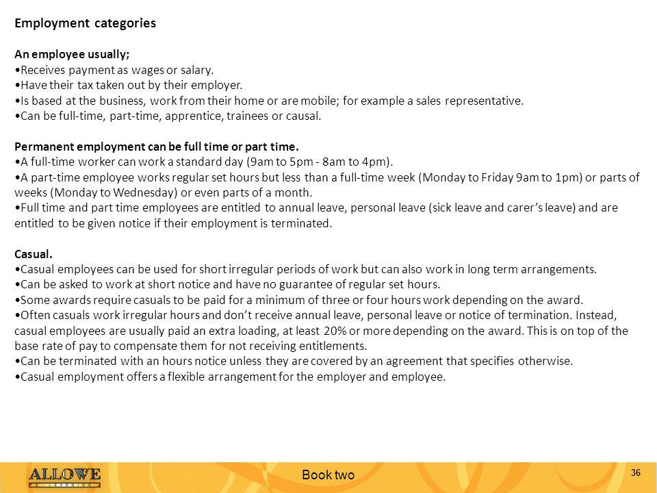 Employment categories