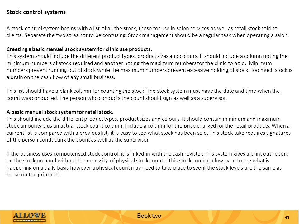 Stock control systems