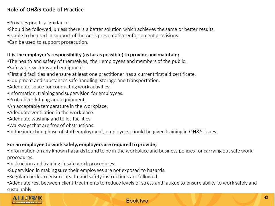 Role of OH&S Code of Practice
