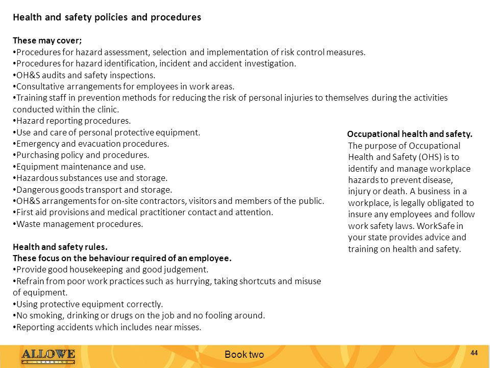 Health and safety policies and procedures