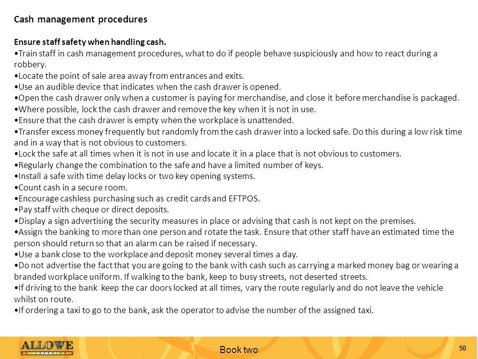 Cash management procedures