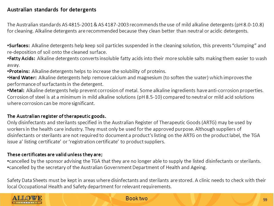 Australian standards for detergents