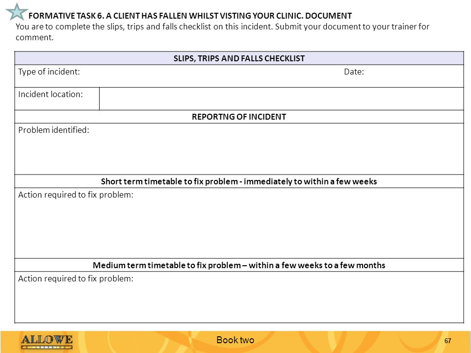 SLIPS, TRIPS AND FALLS CHECKLIST
