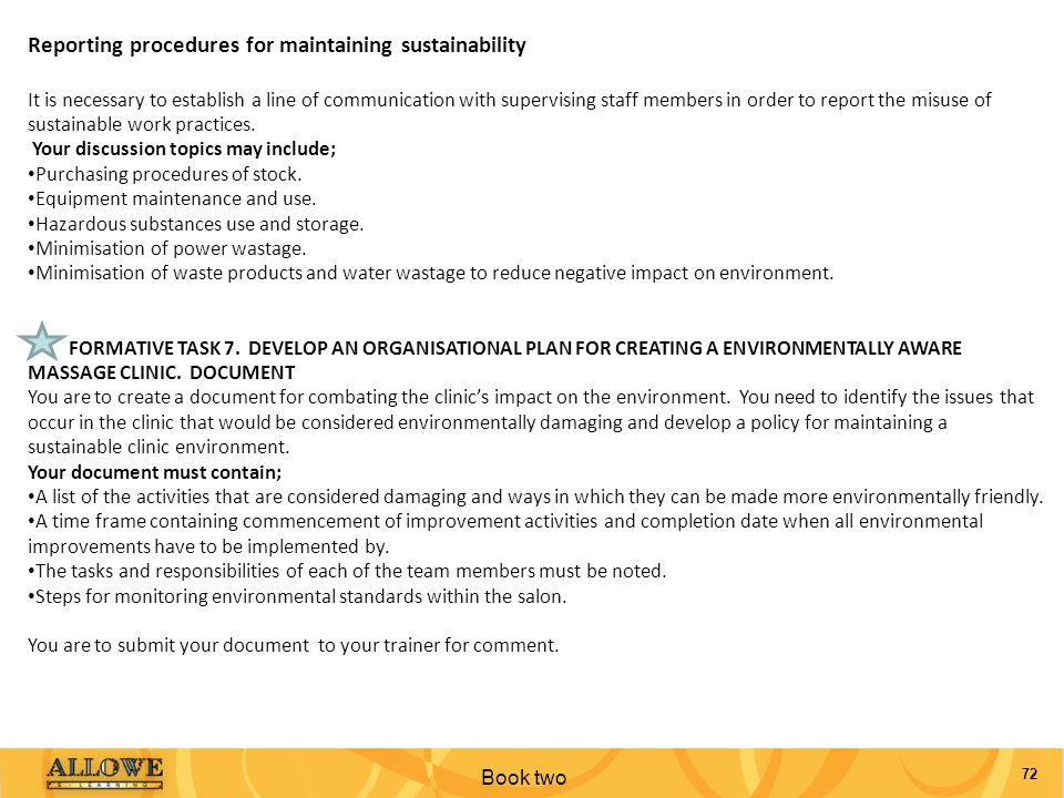 Reporting procedures for maintaining sustainability