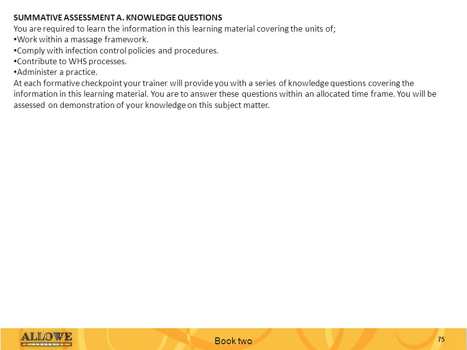 SUMMATIVE ASSESSMENT A. KNOWLEDGE QUESTIONS