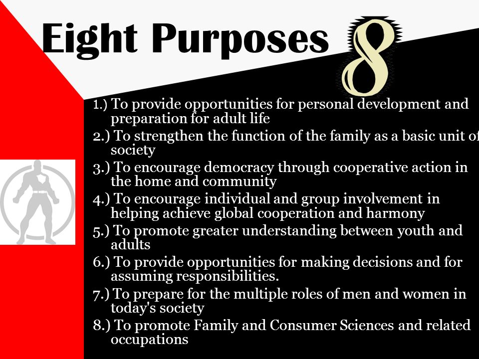 Eight Purposes 1.) To provide opportunities for personal development and preparation for adult life.