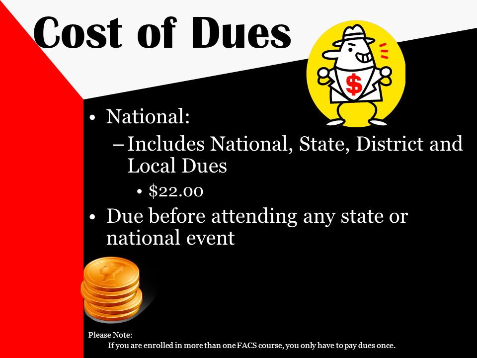 Cost of Dues National: Includes National, State, District and Local Dues. $ Due before attending any state or national event.