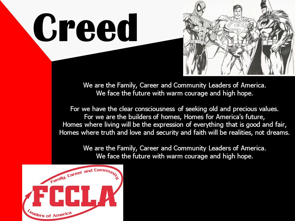 Creed We are the Family, Career and Community Leaders of America.