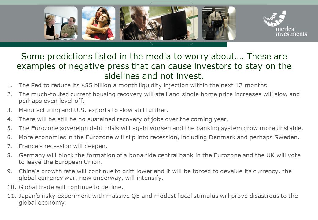 Some predictions listed in the media to worry about…