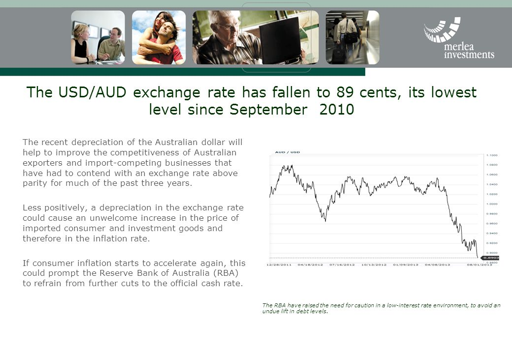 The USD/AUD exchange rate has fallen to 89 cents, its lowest level since September 2010